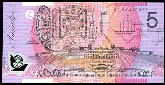 Thumbnail for 1996 $5 MacFarlane-Evans CC96 430326 UNC