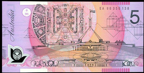 Thumbnail for 1996 $5 MacFarlane-Evans Last Prefix EA96 350138 UNC