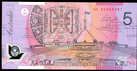 Thumbnail for 1996 $5 Uncirculated Red Serials QE96 000997