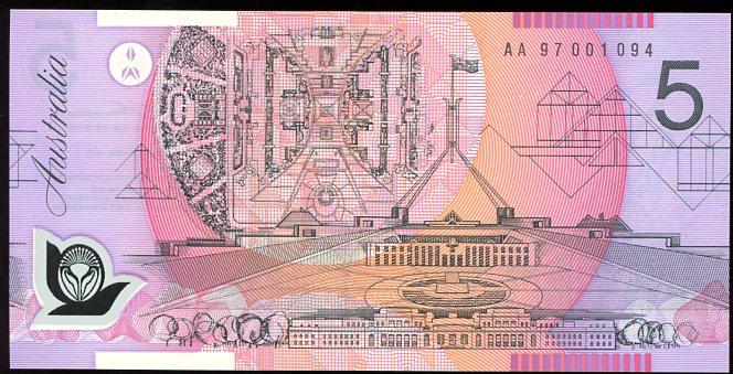 Thumbnail for 1997 $5 First Prefix AA97 001094 UNC