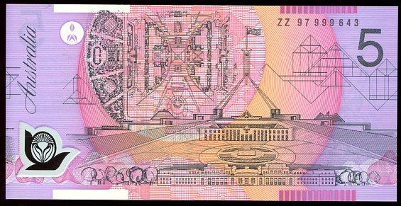 Thumbnail for 1997 $5 Special Prefix ZZ97 999643 UNC