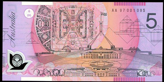 Thumbnail for 1997 $5 First Prefix AA97 001095 UNC