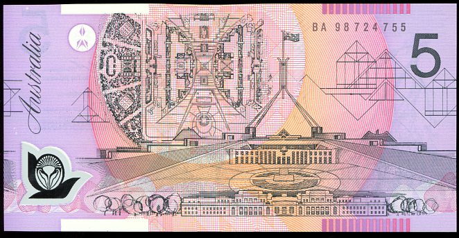 Thumbnail for 1998 $5 First Prefix BA 98 724755 UNC