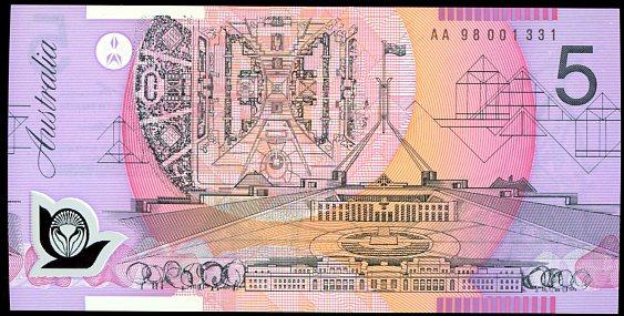 Thumbnail for 1998 $5 First Prefix AA98 001331 UNC
