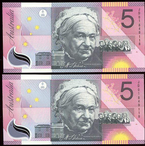 Thumbnail for 2001 $5 Pair Last Prefix JD01 849118-119 UNC