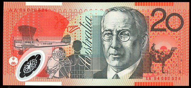 Thumbnail for 1994 $20 Polymer Red Serials AA94 000524 UNC