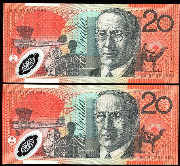 Thumbnail for 1997 Consecutive Pair $20 First Prefix AA97 001094-095 UNC