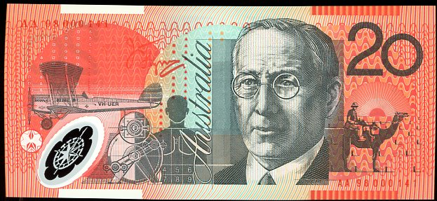 Thumbnail for 1998 $20 Polymer Red Serials AA98 000141 UNC
