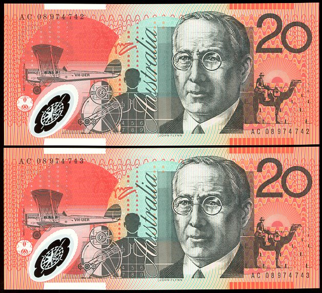 Thumbnail for 2008 $20 Polymer Consecutive Pair AC08 974742-43 UNC