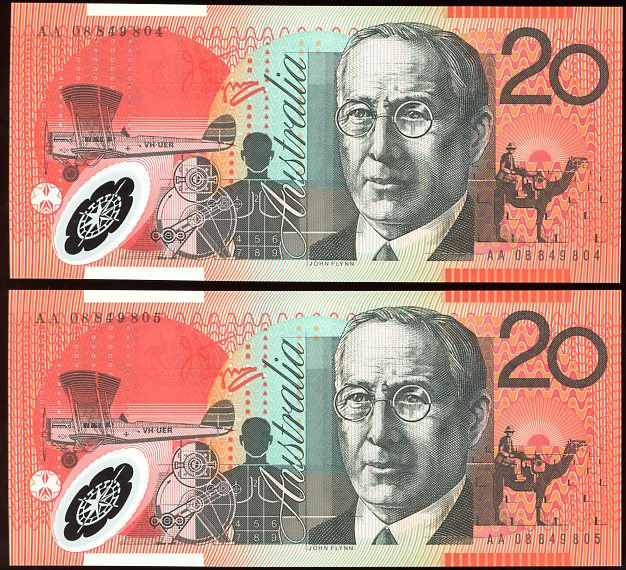 Thumbnail for 2008 $20 Polymer Consecutive Pair First Prefix AA08 849804-805 UNC