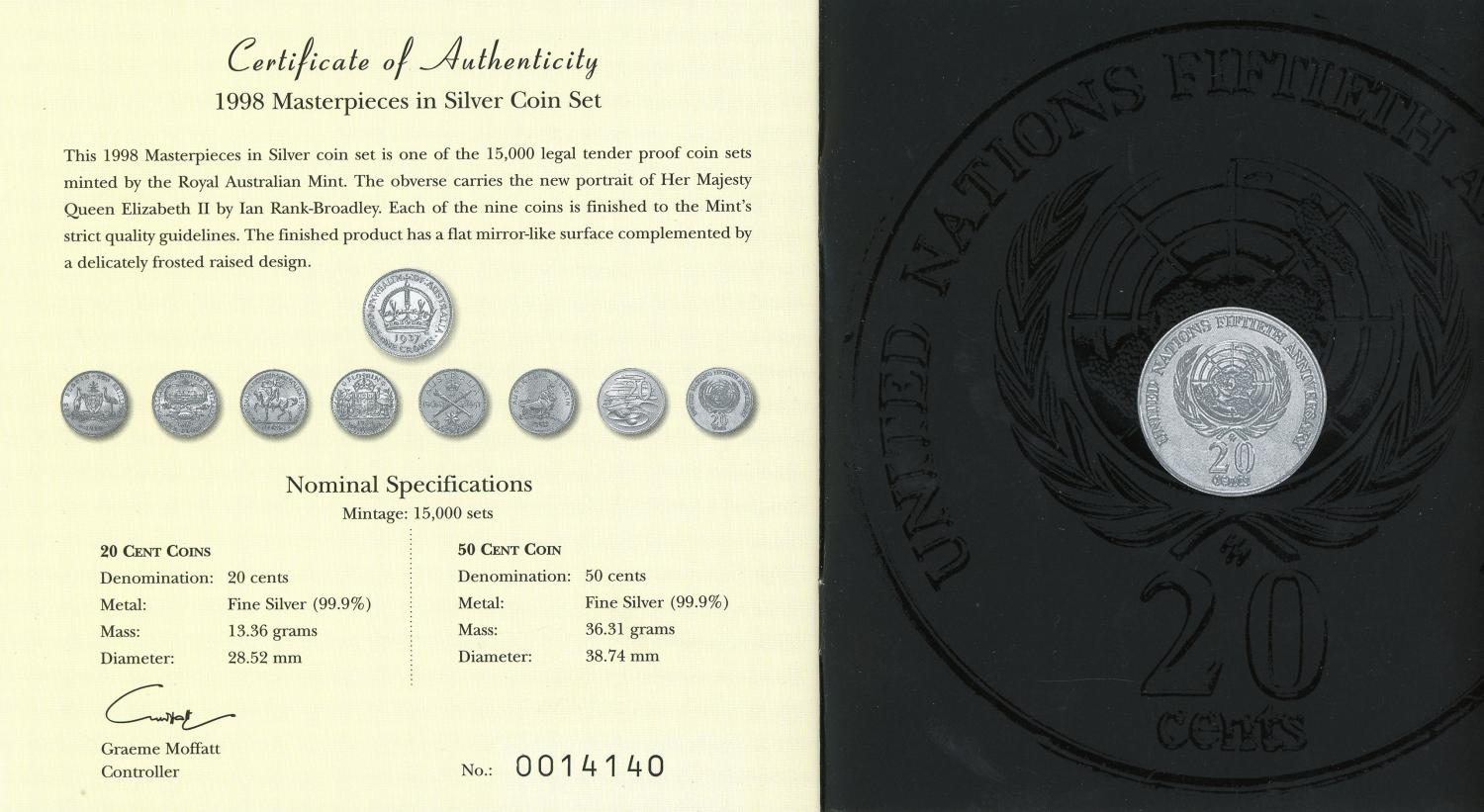 1998 Masterpieces In Silver Coins Of The 20th Century