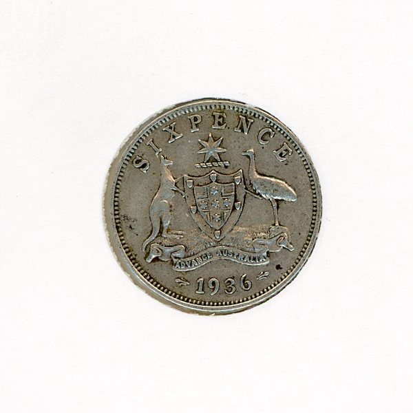 Thumbnail for 1936 Australian Sixpence VF