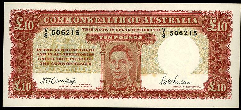 Thumbnail for 1943 Ten Pound Note Armitage - McFarlane V8 506213 aUNC