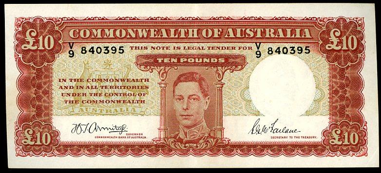 Thumbnail for 1943 Ten Pound Note Armitage - McFarlane V9 840395 EF