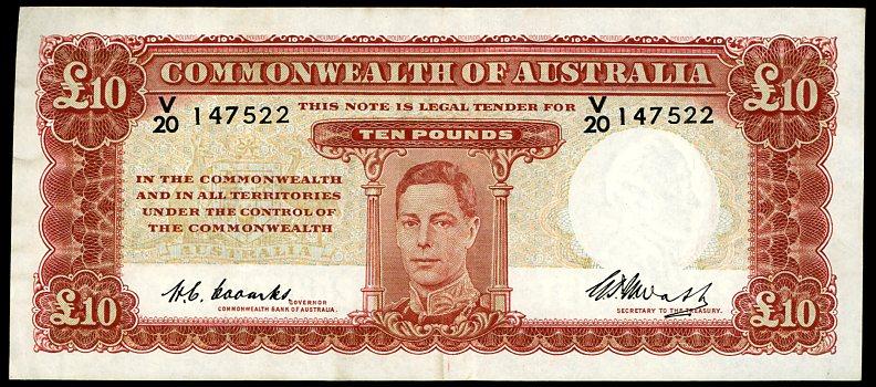 Thumbnail for 1949 Ten Pound Note Coombs - Watt V20 147522 gVF