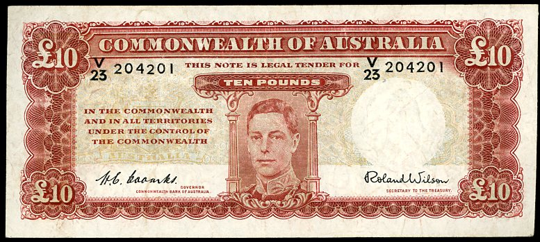 Thumbnail for 1952 Ten Pound Note Coombs - Wilson V23 204201 gF