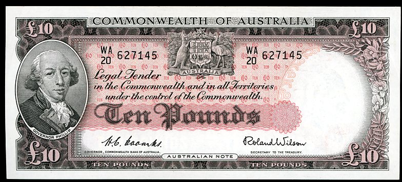 Thumbnail for 1954 Ten Pound Note Coombs - Wilson WA20 627145 EF