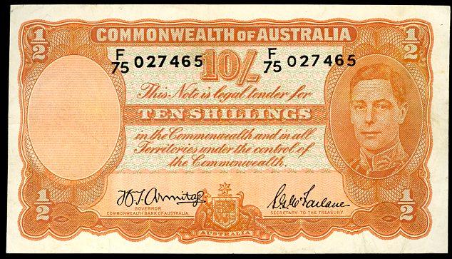 Thumbnail for 1942 Ten Shilling Note F75 027465 aVF