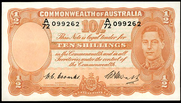 Thumbnail for 1949 Ten Shilling Note A72 099262 gVF