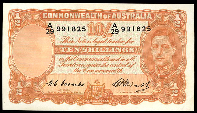 Thumbnail for 1949 Ten Shilling Note A29 991825 EF