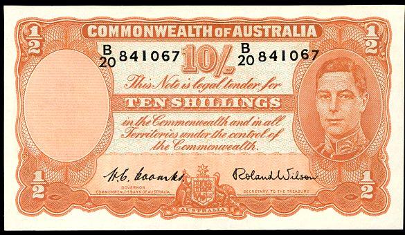 Thumbnail for 1952 Ten Shillings B20 841067 EF