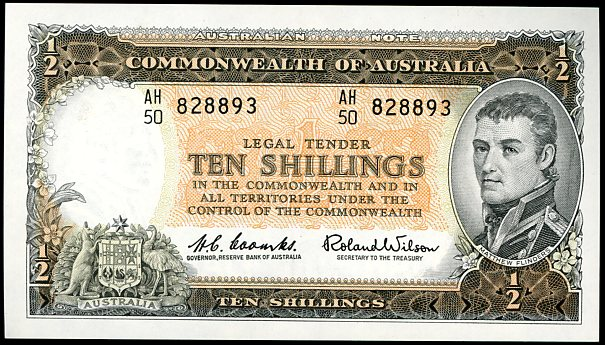 Thumbnail for 1961 Coombs-Wilson Ten Shilling Note AH50 828893 EF