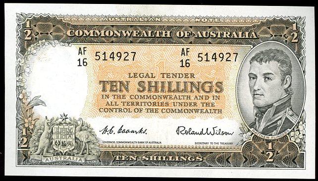Thumbnail for 1961 Ten Shilling Note AF16 514927 gEF
