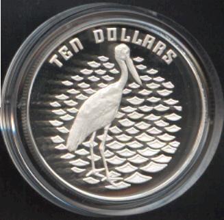 Thumbnail for 1991 Birds of Australia Piedfort $10 Proof - Jabiru