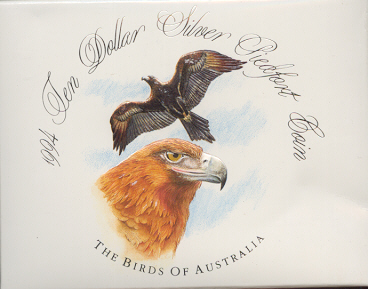 Thumbnail for 1994 Birds of Australia Piedfort $10 Proof Coin - Wedge Tailed Eagle