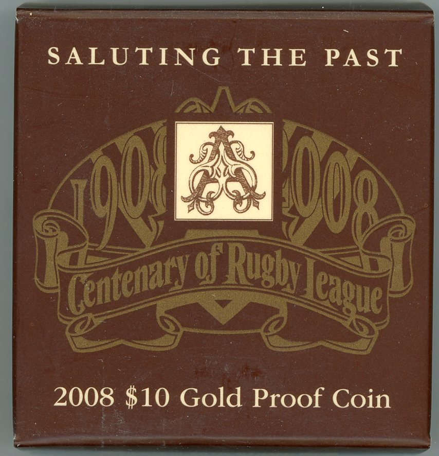Thumbnail for 2008 $10 Gold Proof Coin - Centenary of Rugby League Saluting the Past