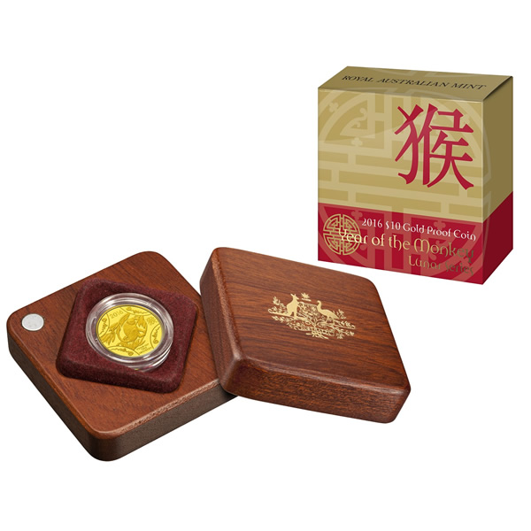Thumbnail for 2016 Lunar Year of the Monkey $10.00 Gold Proof
