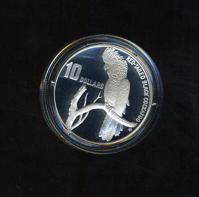 Thumbnail for 1997 Endangered Species $10.00 Silver Proof - South-Eastern Red-Tailed Black Cockatoo