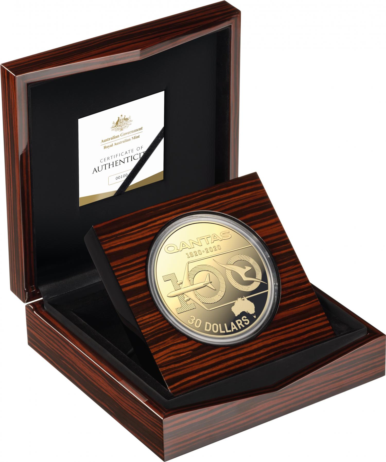 Thumbnail for 2020 Qantas Centenary 1kg Silver Gold Plated Proof Coin