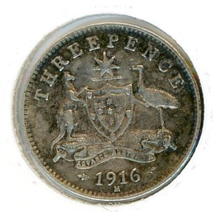 Thumbnail for 1916 Australian Threepence gF