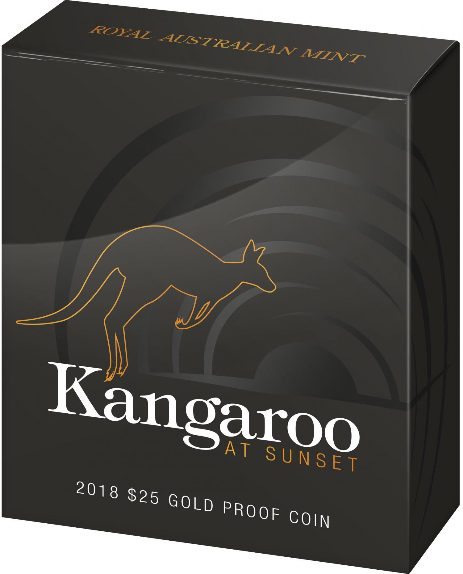 Thumbnail for 2018 $25 Gold Proof Coin - Kangaroo at Sunset