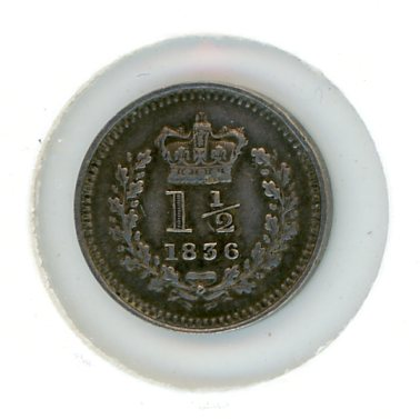 Thumbnail for 1836 British Three Halfpence Silver Coin EF