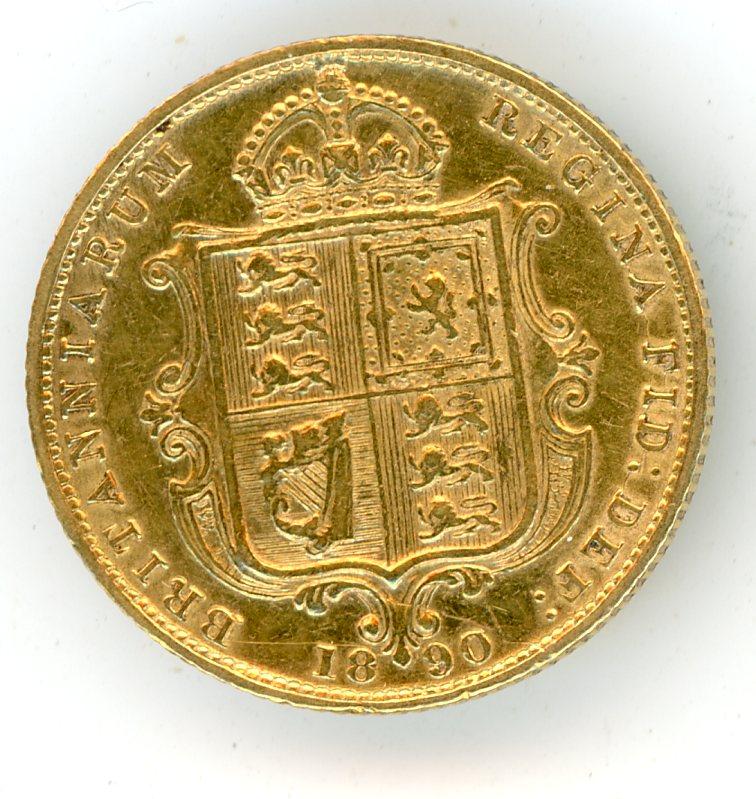 Thumbnail for 1890 UK Gold Shield Half Sovereign Jubilee Head
