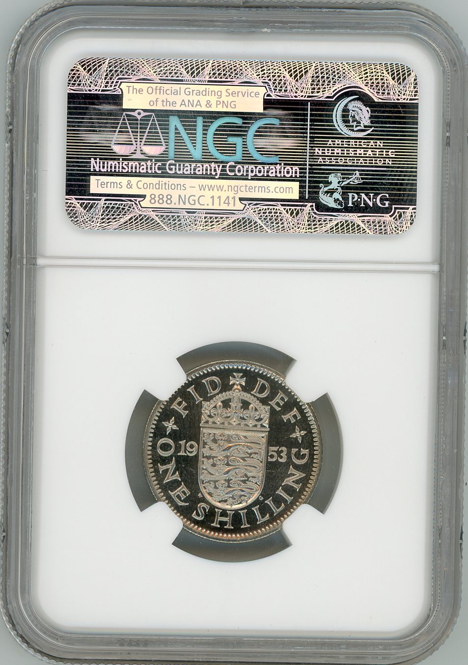 Thumbnail for 1953 UK Proof shilling Slabbed NGC PF64 Cameo