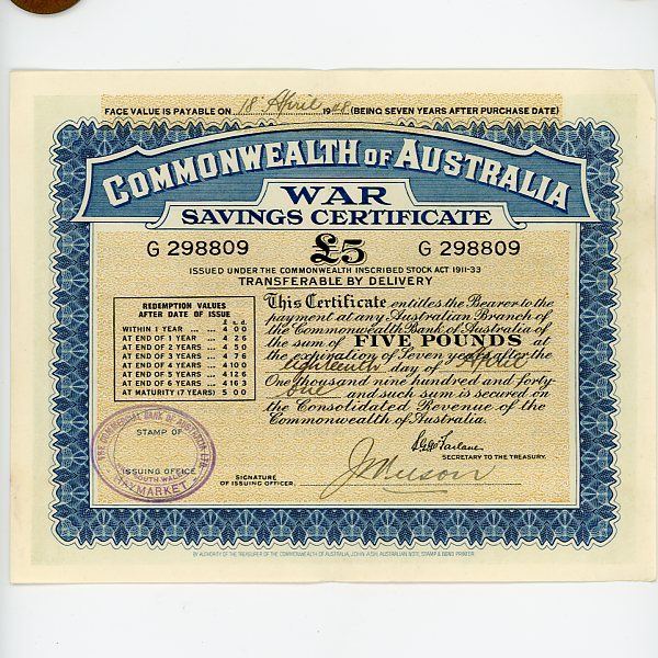 Category Image for Australian War Saving Certificates