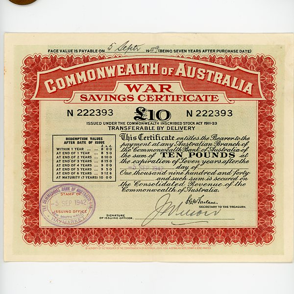 Thumbnail for 1942 £10 War Savings Certificate N222393 Haymarket