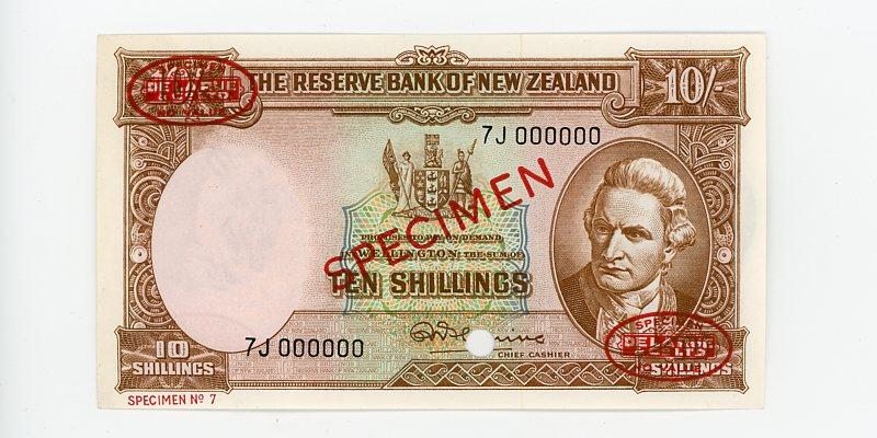 Thumbnail for 1961 New Zealand Ten Shilling Specimen UNC