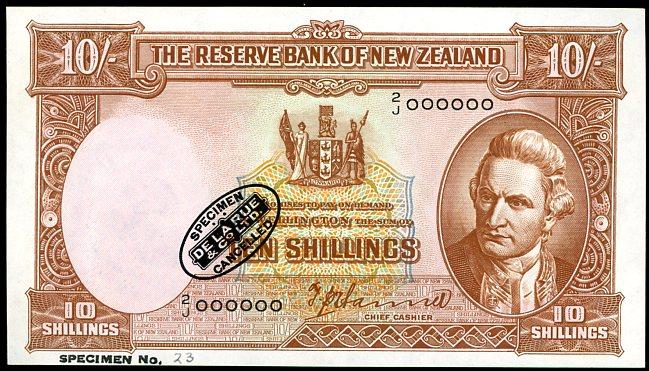 Thumbnail for 1940 New Zealand Specimen Ten Shillings - Hanna 2J 000000 UNC