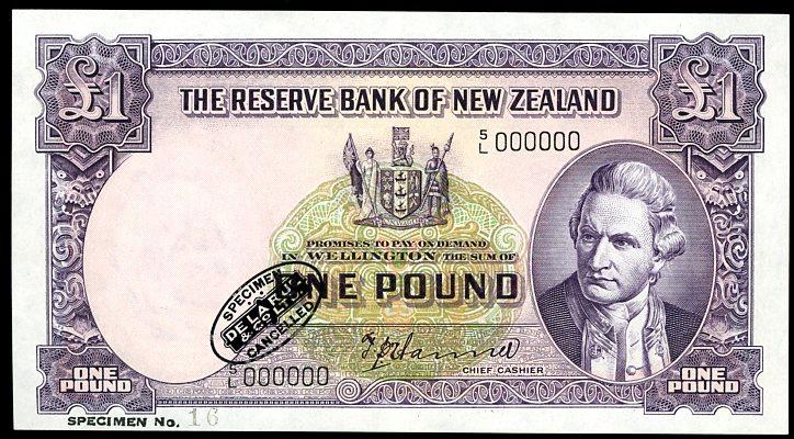 Thumbnail for 1940 New Zealand Specimen One Pound - Hanna 5L 000000 UNC
