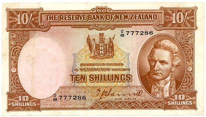 Thumbnail for 1940's New Zealand Ten Shillings Hanna VF - 048 777286