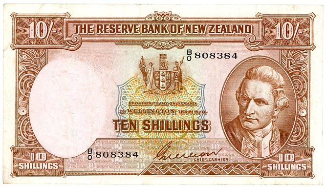 Thumbnail for 1950's New Zealand Ten Shillings Wilson VF - BO808384