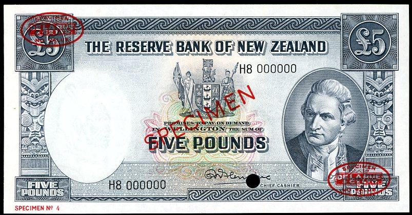 Thumbnail for 1960 New Zealand Specimen Five Pound - Fleming H8 000000 UNC