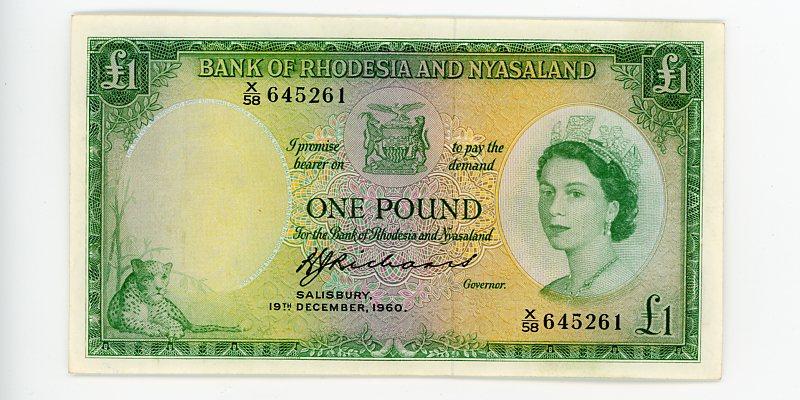 Thumbnail for 1960 Rhodesia & Nyasaland One Pound 9VF