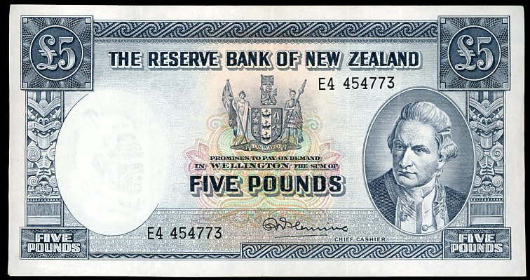 Thumbnail for 1960's New Zealand Ten Shilling Note E4 454773 VF
