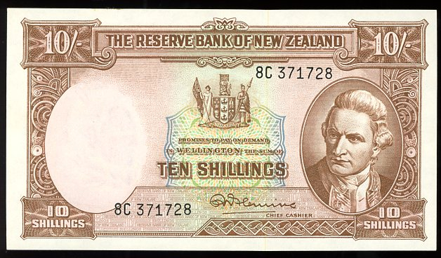 Thumbnail for 1960's New Zealand Ten Shilling Note 8C 371728 gVF