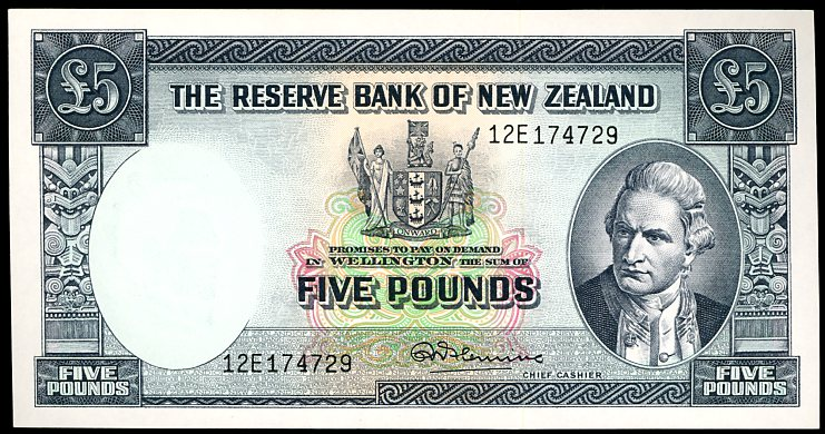 Thumbnail for 1960's Reserve Bank of New Zealand Five Pound Note with Thread 12E 174729 aUNC